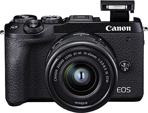 Canon EOS M6 Mark II Systemkamera (32,5 Megapixel, 7,5 cm (3,0 Zoll), Touchscreen LCD, Display, Digic 8, 4K Video, WLAN, Bluetooth) Gehäuse mit Objektiv EF-M 15-45mm F3.5-6.3 IS STM Kit schwarz