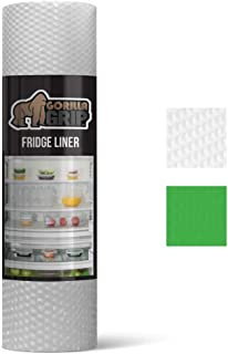 Gorilla Grip Premium Antibacterial Refrigerator Shelf Liner, Non Adhesive Roll, 59 Inch x 17.7 Inches, Durable Fridge Liner Mat, Kitchen Fridge Mat Pad for Fruit and Vegetable Drawers, Fridges, Clear