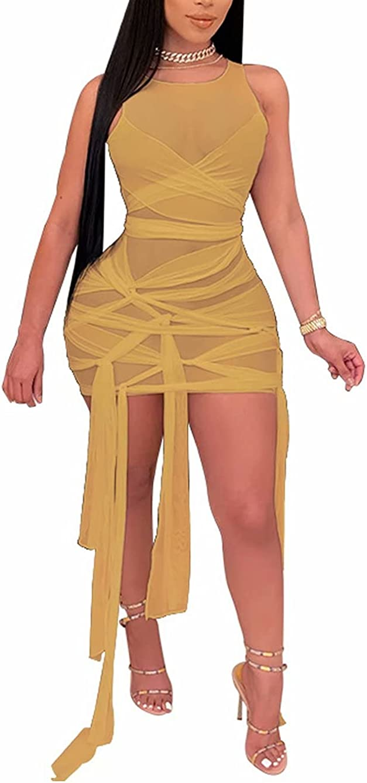 Mintsnow Women's Sexy See Through Mesh Dress Bodycon Knot Club Dress Sleeveless Bandage Party Club Night Out Mini Dress