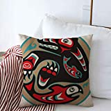 Staromay Throw Pillows Covers Cushion Case Alaska Bear Catching Salmon Native American North Haida Indian Fish Pattern Tribal Design Art Cotton Linen for Fall Couch Home Decor 20 x 20 Inches