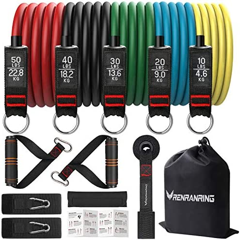 Resistance Bands Set Exercise Bands with Stackable Workout Bands Door Anchor Attachment Handles product image