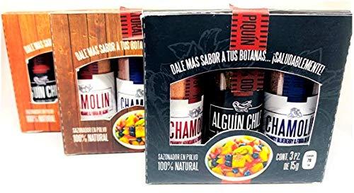 Alguin & Chamolin   3 Cajitas TRIPACK Surtidas de Chamoy de Arándano / Chamoy de Blueberry / Chile Piquín con Alga Espirulina