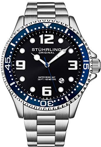 Stuhrling Original Reloj de buceo analógico para hombre, resistente al agua, 100 metros, relojes para hombre, pulsera de eslabones de acero inoxidable, colección de relojes para hombre, Azul/Plateado,