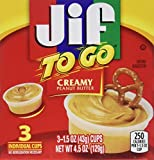 Jif To Go Creamy Peanut Butter Cups,3 individual 1.5oz. cups per box:Pack of 4...