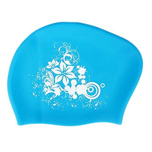 Mesdames Fashion Lily Bonnet de bain en silicone imperméable pour oreille Hat, Bleu clair