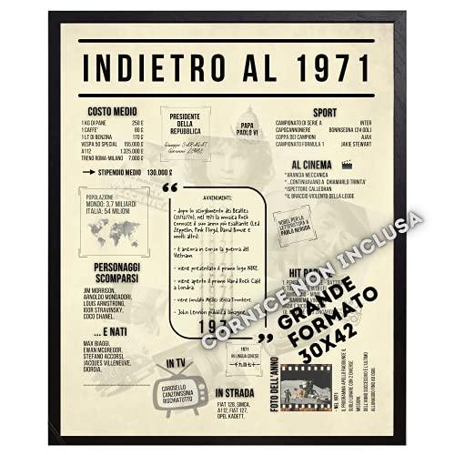B3AL Idea Regalo Formato Maxi 50° Compleanno Uomo Donna per Festa o Anniversario Anno 1971 da...