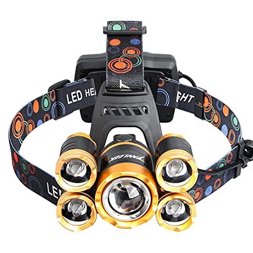 Linterna frontal, faros LED recargables USB, linterna frontal 12000LM con 5 LED 4 modos, impermeable con zoom para correr, acampar, espeleología, pesca, caza, escalada