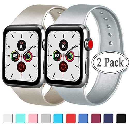 AK Pack 2 Compatibel met voor Apple Horlogeband 38mm 42mm 44mm 40mm, Zachte Silicone Sport Vervangende Band Compatibel met voor iWatch Series 5, Series 4, Series 3, Series 2, Series 1
