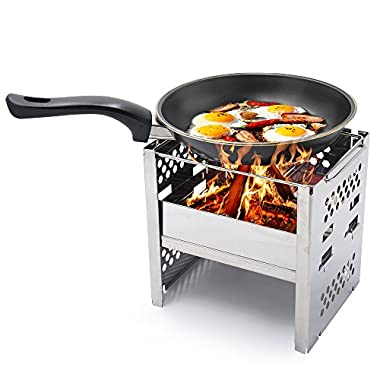 Wood Burning Backpacking Stoves - Stainless Steel Folding Outdoor Camping Hiking BBQ Cooker Stove - Lightweight, Portable, Sturdy