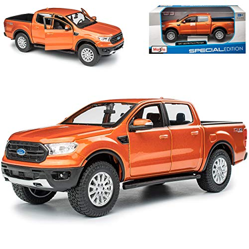 Ford Ranger Pick-Up Orange 3. Generation Ab 2015 1/27 1/24 Maisto Modell Auto mit individiuellem Wunschkennzeichen