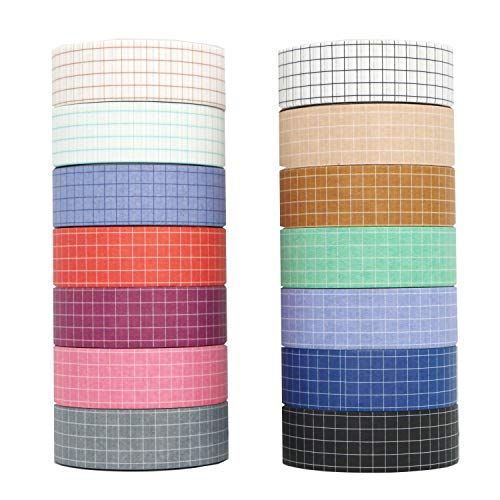 Washi Tape Set, YuBoBo 14 Rolls Grid Washi Masking Decorative Tapes 33 Feet per Roll for DIY Decor Planners Scrapbooking Adhesive School/Party Supplies (14 Colors)