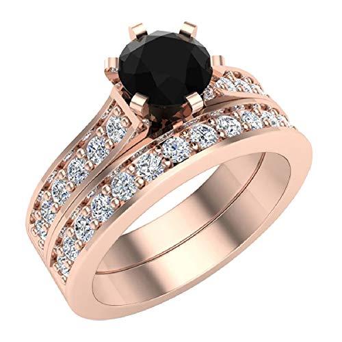 Glitz Design Juego de Anillos de Boda con Diamantes Blancos y Negros con Banda de 1,10 Quilates de Peso Total de Oro de 14 Quilates