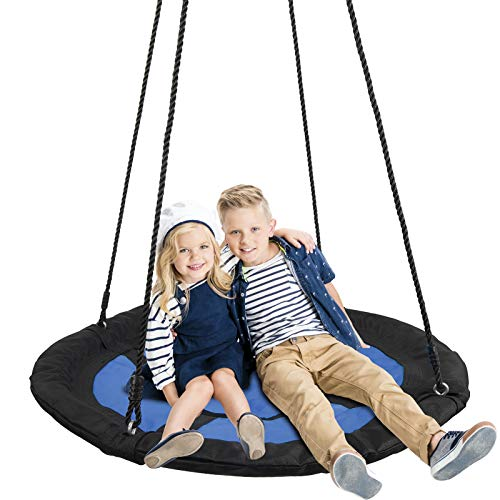 SUPER DEAL Swing Set, 40' Kids Web Tree Swing Saucer Swing + 72' All-Steel All Weather Stand Combo (Blue, XXL)