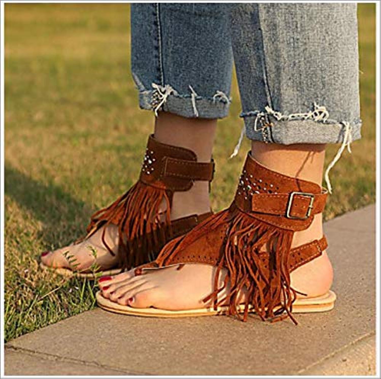 Women's shoes Suede Summer Comfort Slingback Sandals Flat Heel Open Toe Beading Buckle Tassel Black Beige Brown,US5 EU35 UK3 CN34