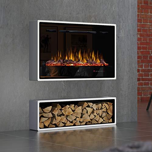 Noble Flame Miami Wandkamin Elektro-Kamin - Elektroeinsatz Paris 920 – LED Flammeneffekt –Dekoholz Gluteffekt – mit Touch-Panel/Fernbedienung