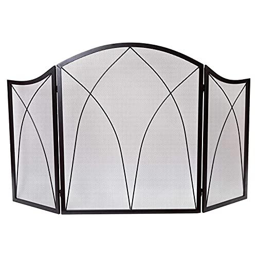 WXL Pantallas de Tres Paneles básicos de Chimenea de Arco (Color : Black, Size : 51.5 * 31 Inches)