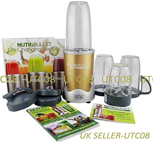 NutriBullet Pro 900 Series 15-teiliges Set Blender/Mixer Superfood Nutrition Extractor mit Rezeptbuch - Champagner Gold