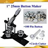 "1"" 25mm Kit!! Badge Button Maker Machine+Plastic Circle Cutter+100 Pin Badge"