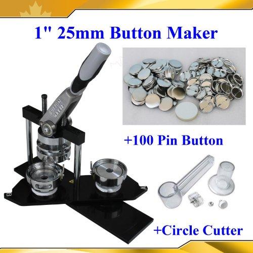 "1"" 25mm Kit!! Badge Button Maker Machine+Plastic Circle Cutter+100 Pin Badge"