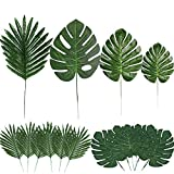 60 Pieces 4 Kinds Artificial Palm Leaves with Faux Stems Tropical Plant Leaves Monstera Leaves Safari Leaves for Hawaiian Luau Party Jungle Beach Table Leave Decorations
