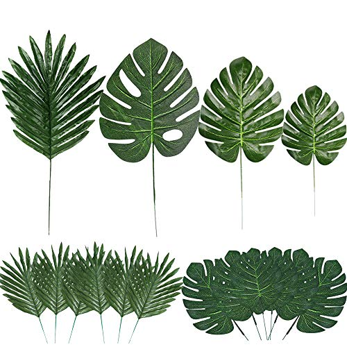 60 Pieces 4 Kinds Artificial Palm Leaves with Faux Stems Tropical Plant Leaves...