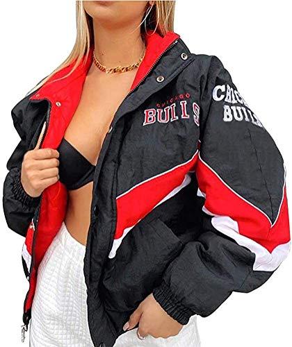 Onsoyours Bomberjacke Damen Sweatjacke Ladies College Sweat Jacket Reißverschluss Für Frauen Oversized Patchwork Jacke Vintage Druck Jacken Baseball Mantel (A Schwarz, M)