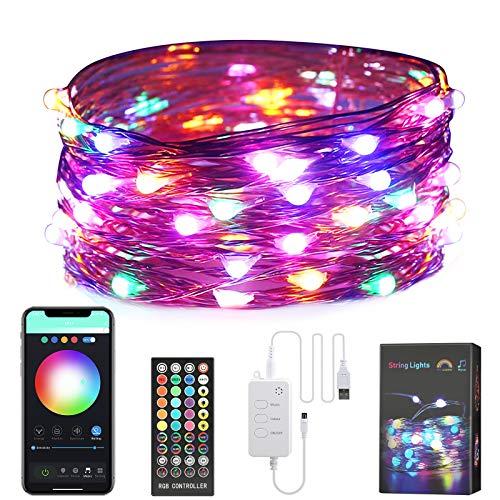 SUNGYIN LED Lichterketten 5M USB Innenfarbe Kupferdraht dreamcolor wasserdichte Lichterketten 8 Modi RGB dimmbar APP-Steuerung Mit Fernbedienungs,für Weihnachtsdekoration Party, Innen und Außen