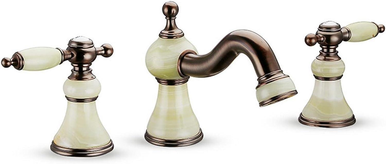 Antique Jade Faucet Three Holes Split Toilet Double Basin Washbasin Faucet