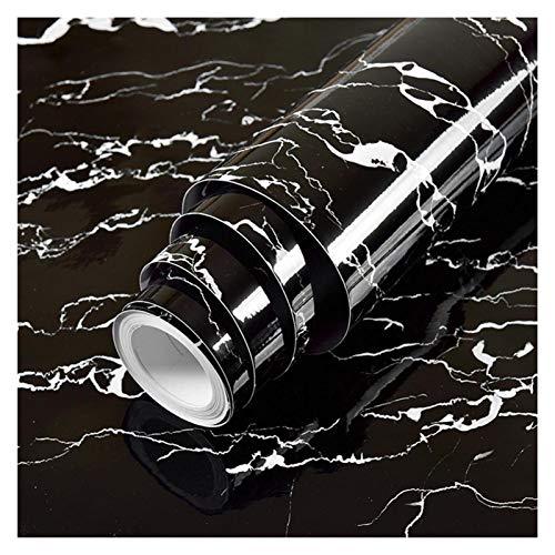 YEYU BH Papel de contacto de PVC resistente al agua, autoadhesivo, papel de vinilo, película decorativa para encimera, muebles de cocina, adhesivo negro (color: rayas blancas, tamaño: 40 cm x 3 m)