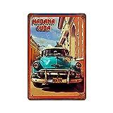 GDRAY Cartel de metal vintage de La Habana Cubana con placa de metal para publicidad, regalo para hombre, cuevas, cafetería, bar, pub, cerveza, decoración de pared