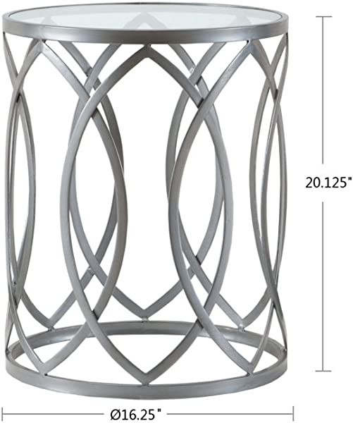Madison Park FPF17 0295 Arlo Accent Tables For Living Room Glass Top Hollow Round Small Metal Frame Geometric Eyelet Pattern Luxe Modern Stylish Nightstand Bedroom Furniture Silver