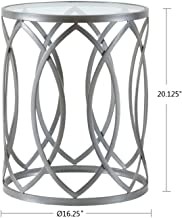 Madison Park Arlo Accent Tables For Living Room, Glass Top Hollow Round, Small Metal Frame Geometric Eyelet Pattern Luxe Modern Stylish Nightstand Bedroom Furniture, Silver
