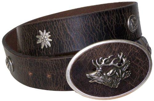 Fronhofer Ceinture de costume traditionnel allemand à tête de cerf, Ceinture en cuir naturel avec edelweiss, 17291, Taille:Taille 80 cm, Couleur:Marro