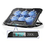 PuzFun Laptop Cooling Pad, Game Laptop Cooler for 11-17inch Laptop with 6 Quiet Blue Fans and LED Screen, 6 Adjustable Speed & 5 Adjustable Stand Height & Dual USB 2.0 Ports for Home and Office