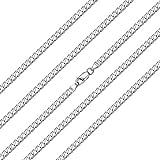 ChainsHouse Fashion Jewelry 925 Plata de Ley Collar de Cadenas eslabones Cubanas 55cm Largo Joya Personalizable para Hombres Mujeres Regalo Año Nuevo Dia de los Enamorados