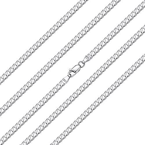 ChainsHouse 925 Silver Necklace Collar de Cadena Cubano Curb/Italiano Figaro 45cm - 71cm de Largo Personalizable Collar Plata de Ley Hombres Mujeres Gratis Caja de Regalo