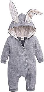 Baby Rabbit Ear Jumpsuit, Unisex Newborn Infant Solid Zipper Hooded Pajama Romper Sleepwear Playsuits