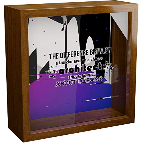 Architect Gift   A 6x6x2'' Themed Memory Shadow Box for Architects   Architecture Gift for Women & Men   Present for Architect Student   Architectural Home Decor   Wooden Keepsake Display Case