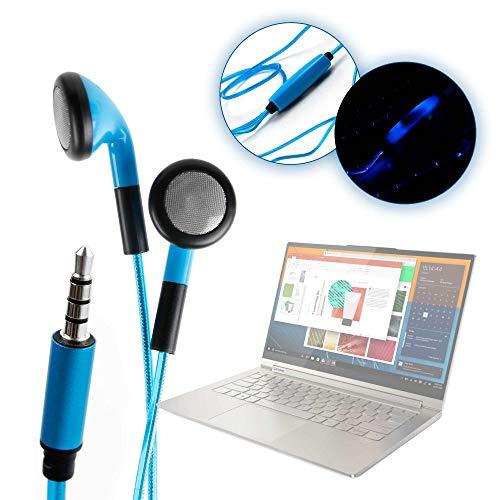 """DURAGADGET Auriculares In-Ear con Luz LED Azul Compatible con Portátil Lenovo Yoga C940 (15""""), Lenovo Yoga C940 (14"""")- ¡Las Luces Se Mueven Al Ritmo De La Música!"""