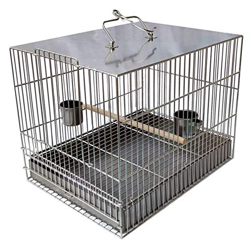 ZHZH Garden Furniture Outdoor Life Chicken Coop Stainless Steel Square Parrot Cage Large Capacity Bird Bath Cage for Ornamental Bird Pet Supplies Poultry Care Interesting Nest