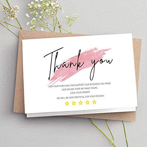 YCYY Tarjeta de Agradecimiento Blanca de 30 Piezas Gracias por su Pedido Tarjeta de complemento Etiqueta para pequeñas Empresas Decoradas como un Paquete de Regalo para pequeñas Empresas