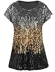 Silver/Gold/Black Loose Bat Sleeve Party Tunic Tops