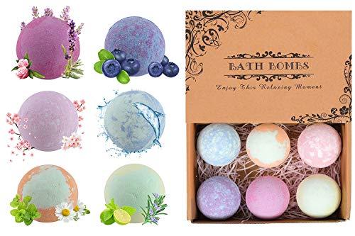 TQVAI 6 Pack Organic Natural Bath Bombs Gift Set for Women Girlfriend Mom and Kids