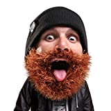 Beard Head Bushy Biker Beard Beanie - Funny Knit Hat and Fake Beard Costume Black