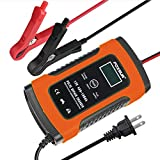 Foxsur 5A 12V Automotive Smart Battery Charger/Maintainer, AGM/Gel/SLA Battery Charger for Car, Motorcycle, Lawn Mower, Boat, RV, SUV, ATV and More (12V 5Amp Red)