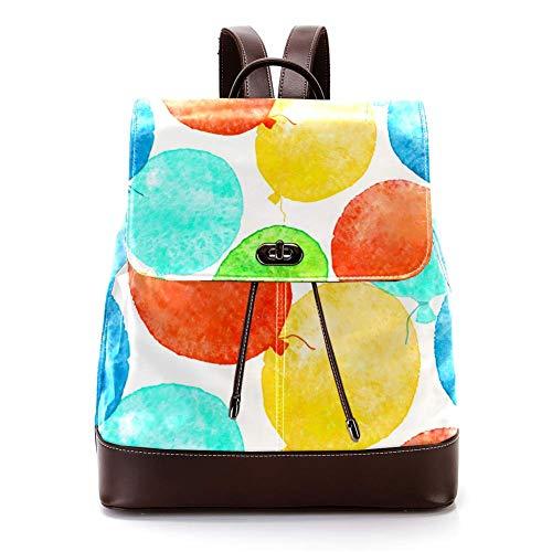 Lässiger PU-Leder-Rucksack für Männer, Frauen, Schultertasche, Studenten, Tagesrucksack für Reisen, Business, Uni, Wasserfarben, Luftballons