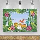 Dibujos Animados Fiesta Selva Tropical Fotografía Fondos Verano Palmas Árbol Hojas Cumpleaños Patrón Bebé Retrato Foto Fondos Vinilo 1.5 x 2.1 m