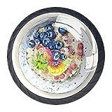 BestIdeas - Pomos redondos para cajones (4 paquetes, 30 mm, asas para desayuno, fruta, avena, avena, para dormitorio, armario, puerta de cocina