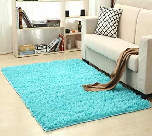 Kakymjxnj Weiche Seide Wollteppich Indoor Modern Shag Area Rug Seidige Teppiche SchlafzimmerBodenmatte Teppich, Saphir, 200X300cm