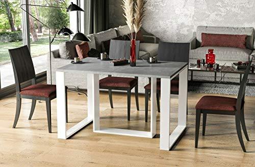 Endo-Moebel Esstisch Borys 130cm - 330cm Kufengestell weiße Kufen Kulissentisch ausziehbar (Beton)